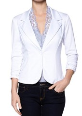 A.S Juniors Casual Three Quarter Sleeve Fitted Blazer (Medium, White)