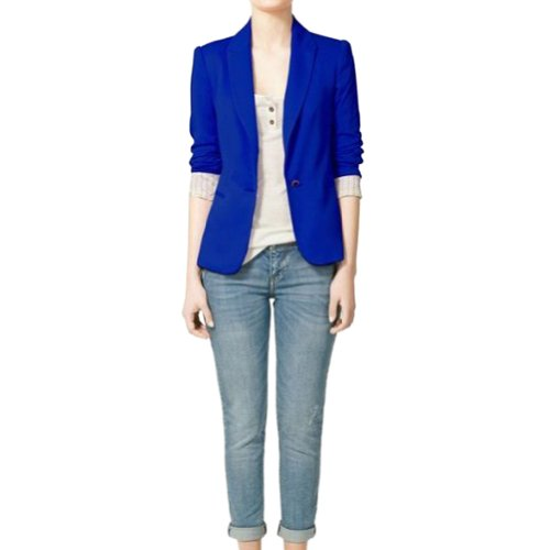VonFon Women Candy Color One Button Blazer Foldable Sleeve Slim Suit Jacket Blue