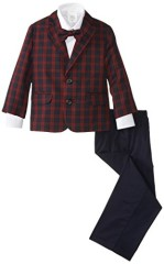 Nautica Little Boys' Plaid Twill Duosuit Set, Navy,6