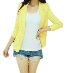 AM CLOTHES Womens Winter Fall Casual Outwear Slim Blazer Suit Small Yellow