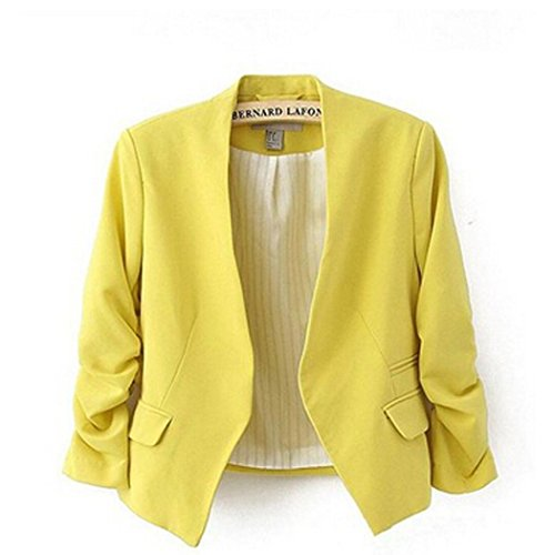 Zeagoo Womens OL Solid Fold Sleeve Slim Suit Blazer Jacket Casual Business Coat