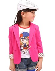 Acefast INC 3 Colors Girls Outfit Blazer Jacket Kids Dot Sleeve Toddler Party Causual Clothes (100#, Rose Red)