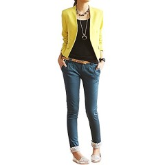 Imixcity Womens Candy Color Folding Sleeve Office Blazer (L, Yellow)