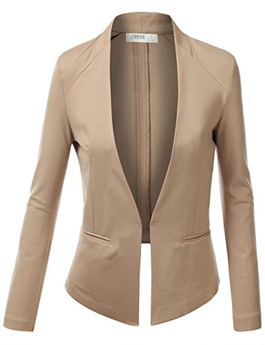 J.TOMSON Womens Open Boyfriend Blazer TAUPE MEDIUM