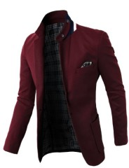 H2H Mens Fashion Slim Fit Blazer Jacket With Snap Collar WINE US Large/Asia 2XL (KMOBL01)