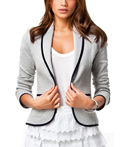 CXB1983(TM) 2015 Women Blazer Short Turn Down Collar Slim Single Button Jacket Suit Coat (S, Gray)