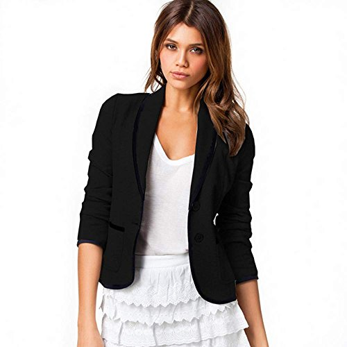 FINEJO Women's Candy Color Suit Blazer [Apparel] (Asian XXL (US XL), Black 2)
