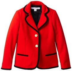 Brooks Brothers Little Girls' 2 Button Piped Blazer, Red/Navy, 4