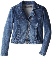 Freestyle Revolution Big Girls' Knit Moto Jacket, Marble Wash, Small/7